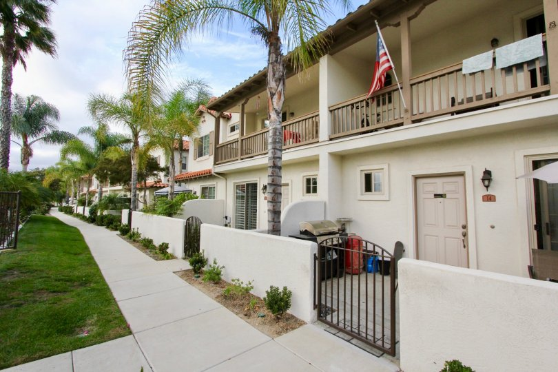 Private patios and balconies at Rancho Rose in Oceanside, California