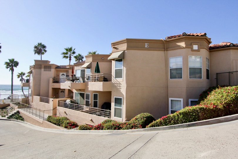 A clear sunny day at the oceanside condo buildings in the community of San Miguel III in Oceanside, CA