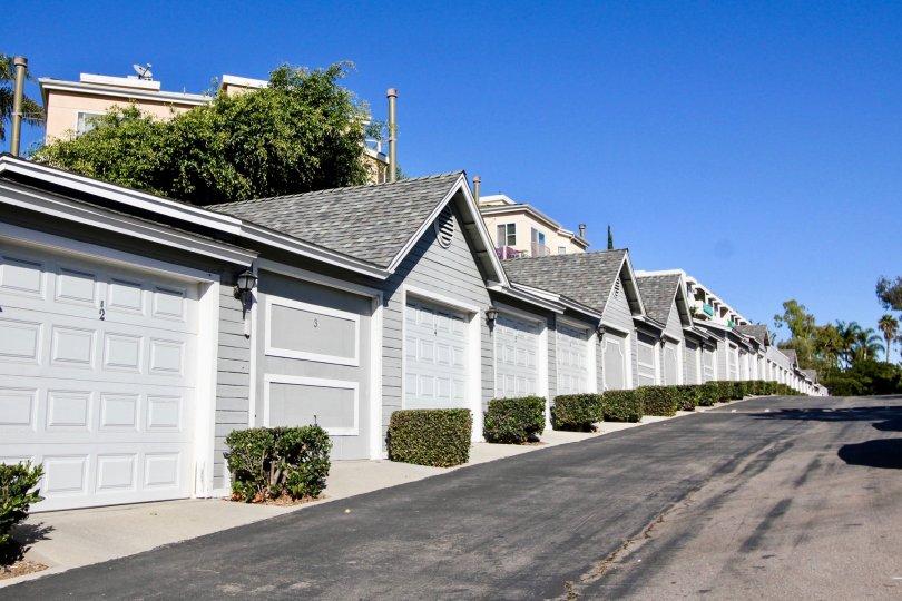 Garages. Sandpiper Cove. Oceanside, California. Sunny.