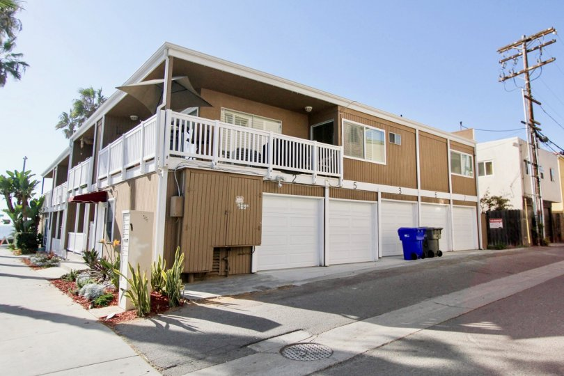 Garages and second floor balconies at the Sea Spray Villas II in Oceanside, California