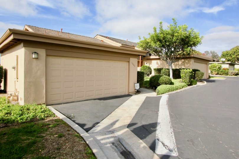The driveway and garage entrance to a home in the community of Seawind in Oceanside, Ca.