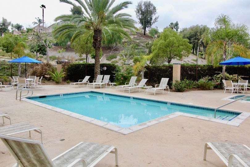 THE MOUNTAIN IN THE BLUFFS WITH SWIMMING POOL, TABLES, CHAIRS, TREES.