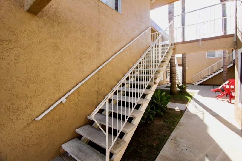 Stairway leading to residential units in Oceanside CA at Tremon