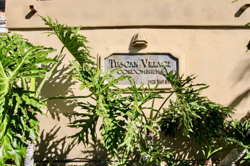 The address marker for Tuscan Village Condos in Oceanside, CA.