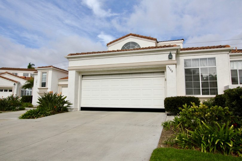 An outside view of a garage in the Villa Trieste community in Oceanside CA