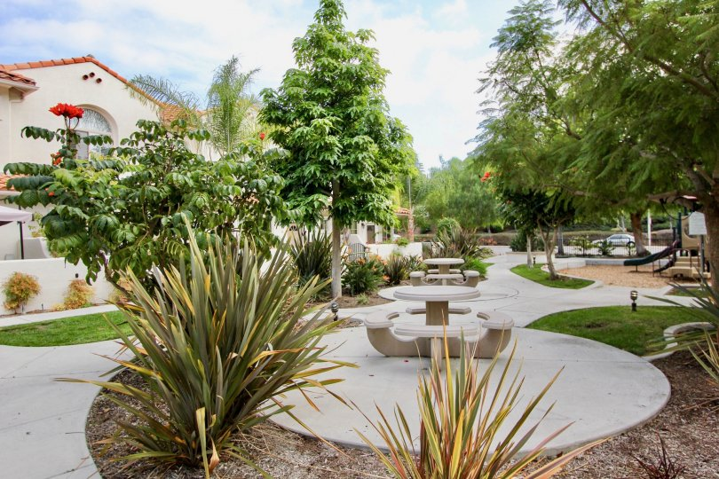 A park with playing aminities and plants in Villas at Mission Point.