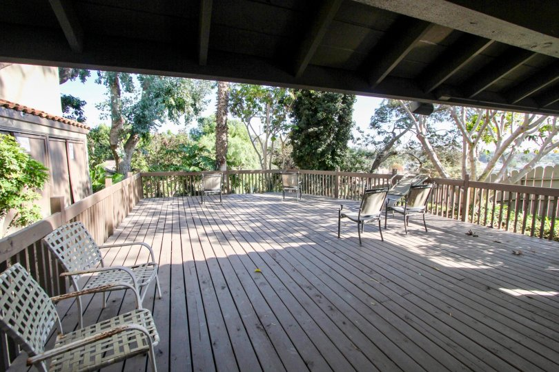 Take a load off and sit and read on this rustic deck in Oceanside California