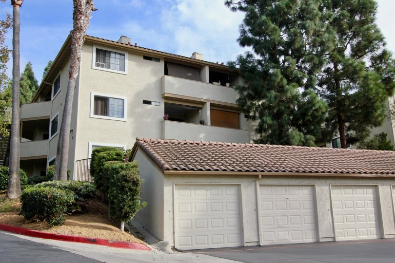 Vista Way Village Oceanside California, great view of three story complex with garages for parking and storage.