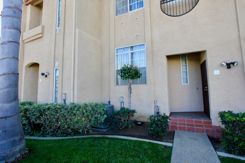 Front view of Wind & Sea Townhomes in Oceanside, California