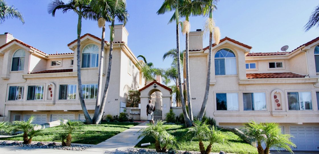 Spacious and stately villas with tiled sloping roof and gothic windows at Agate Manor, Pacific Beach, California