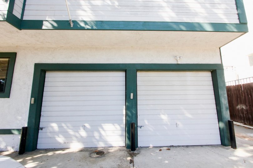 Front of garage doors in Baycrest community, Pacific Beach, California