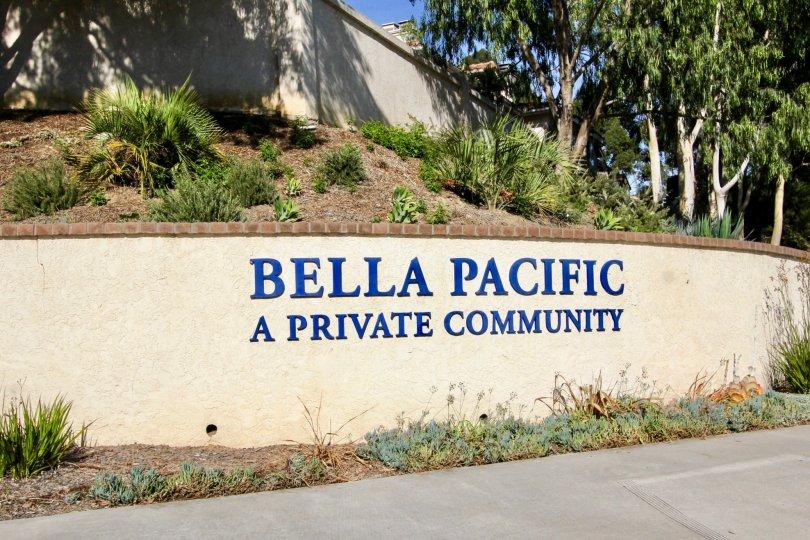 Bella Pacific community sign area in Pacific Beach, California