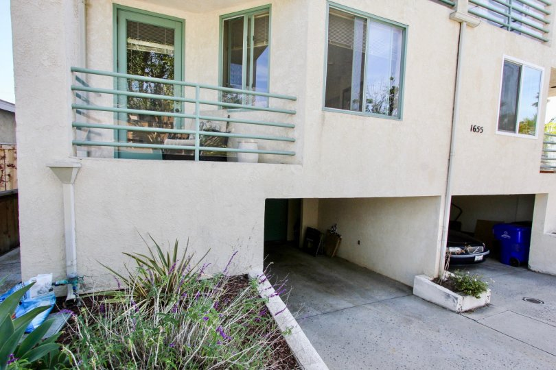 Side view with garage entrance of Chalcedony Townhomes, Pacific Beach, CA