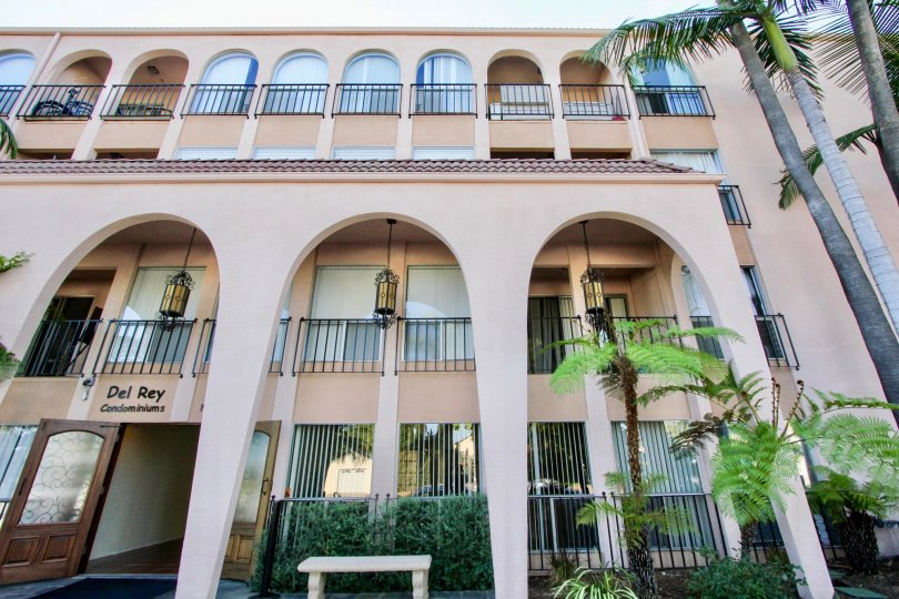 Beautiful and moderns Del Ray condominiums with palm trees