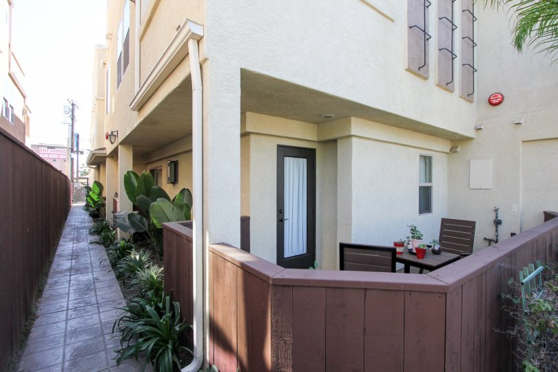 Feldspar Townhomes Creme and Brown Building with Patio Pacific Beach California