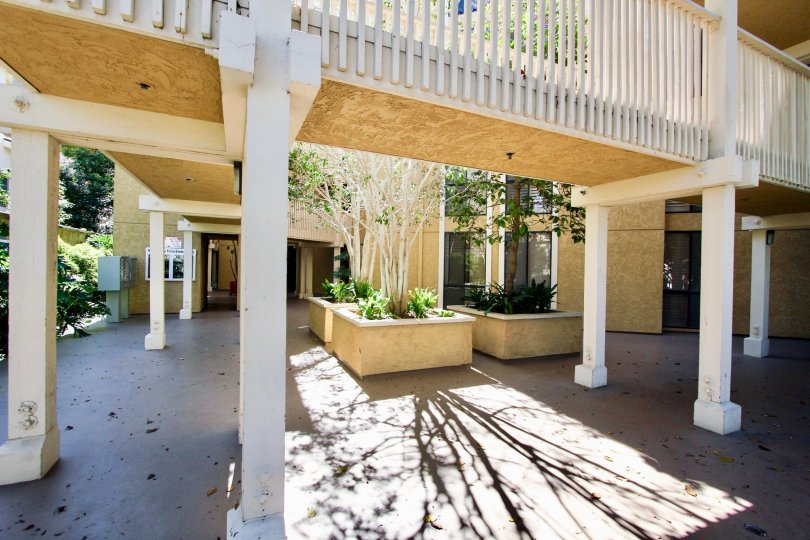 A courtyard in the Gresham La Palma community with planters and covered walkway.