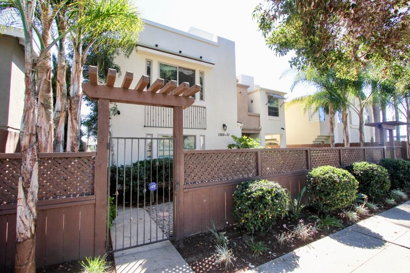 Hornblend Townhomes Gated Entryway and Landscaping Two-Story Building Pacific Beach California