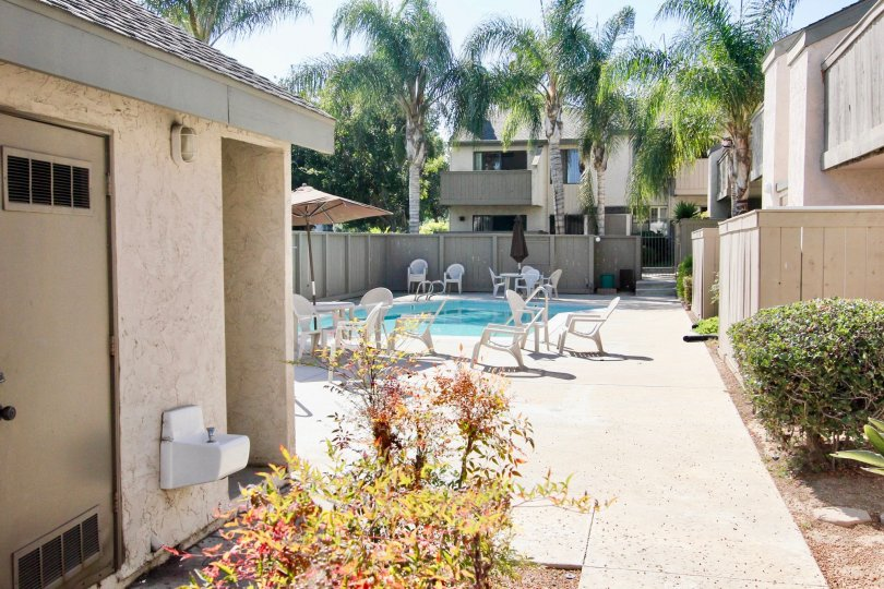 A sunny and warm pool spot at La Portola housing community