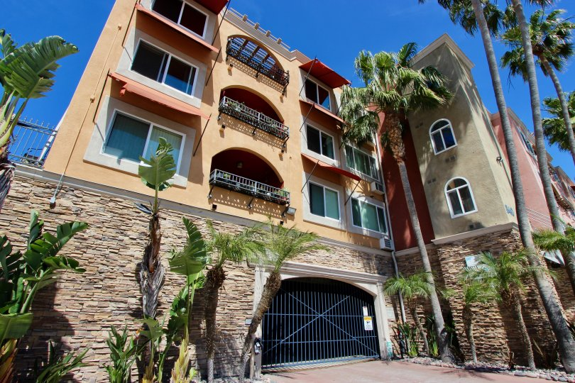 Pacific Shores is a four story Mediterranean style building in Pacific Beach