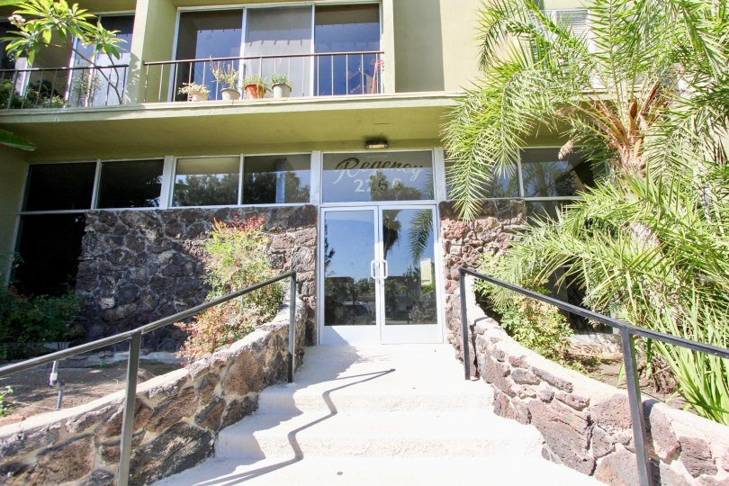 The entry way to the Regency Condo building in Pacific Beach, CA.