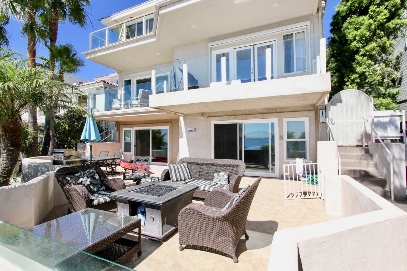 Outdoor living of the Sail Bay Condos, Pacific Beach, California