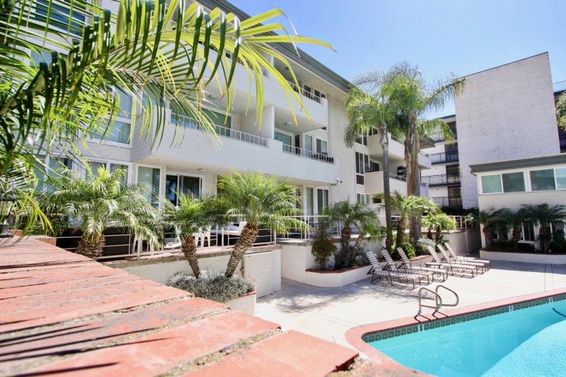 Sail Bay Shores apartments with it's swimming pool facility in Pacific Beach, California