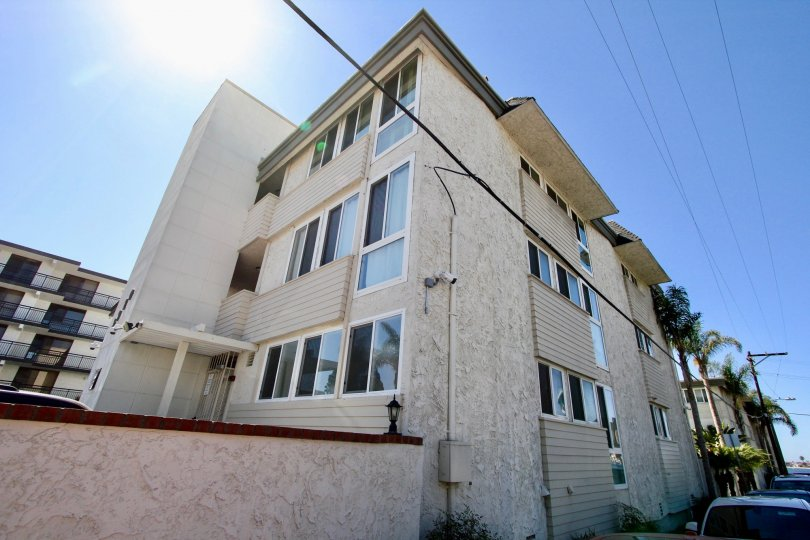 A three story condominium building located in Sail bay Shores in Pacific Beach CA