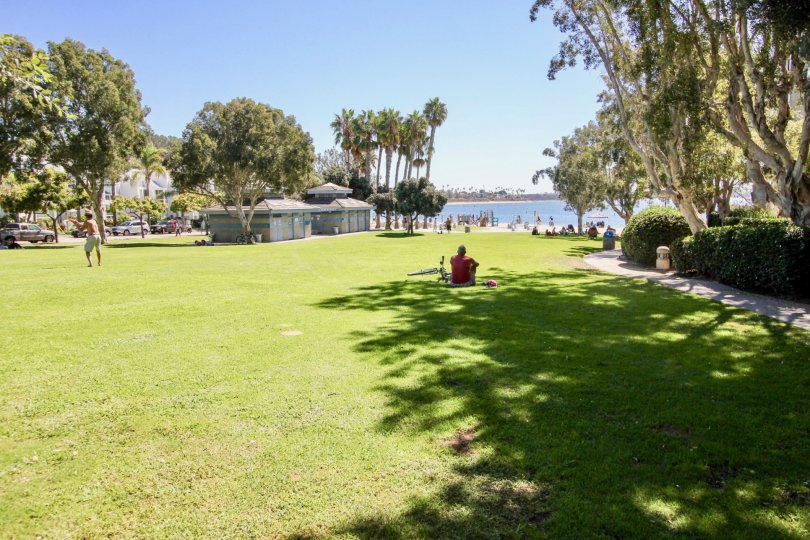 A sunny day in the area of San Remo, outside, people, ocea, trees, boardwalk