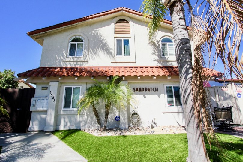 A sunny day in the area of Sand Patch, outside, house, palm trees, grass, driveway, hose
