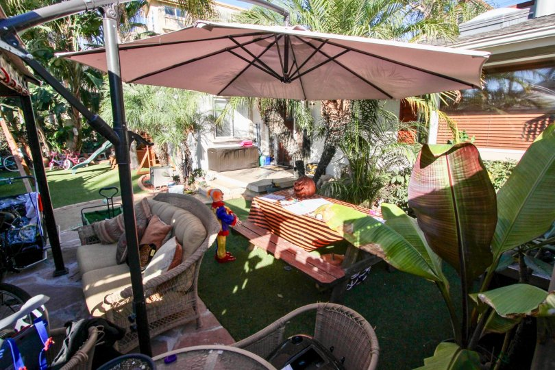 A sunny day in the area of Sunblend, outside, yard, umbrella, clown, table, patio