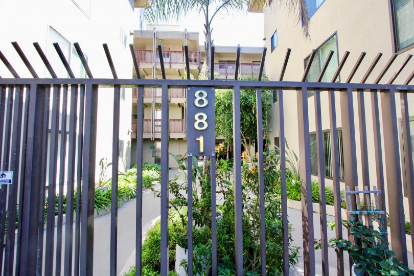 A black colored fence with white and brown colored apartments in the background.