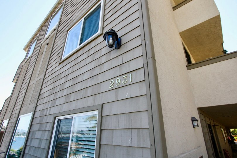 The exterior of an apartment building in La Playa Bayshore in Point Loma, California.