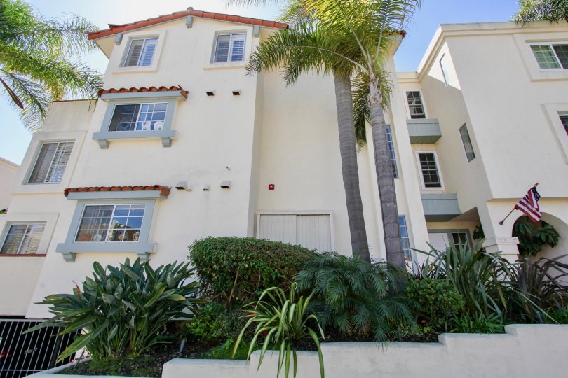 Three story condo with palm trees in front, located in La PLaya Blanca, Point Loma, California.