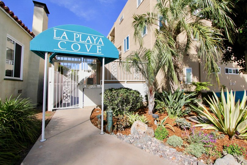 The entrance to an apartment complex in La Playa Cove, in Point Loma, California