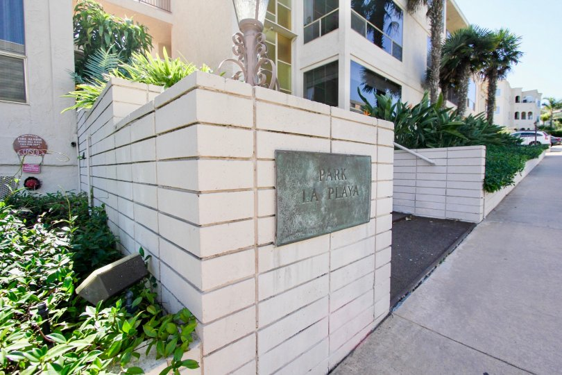 California Point Loma Park La Playa Apartment Building front with Plaque
