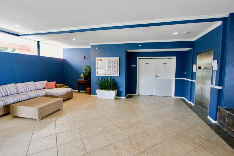An easy to maintain lobby has tile flooring and dark blue walls.