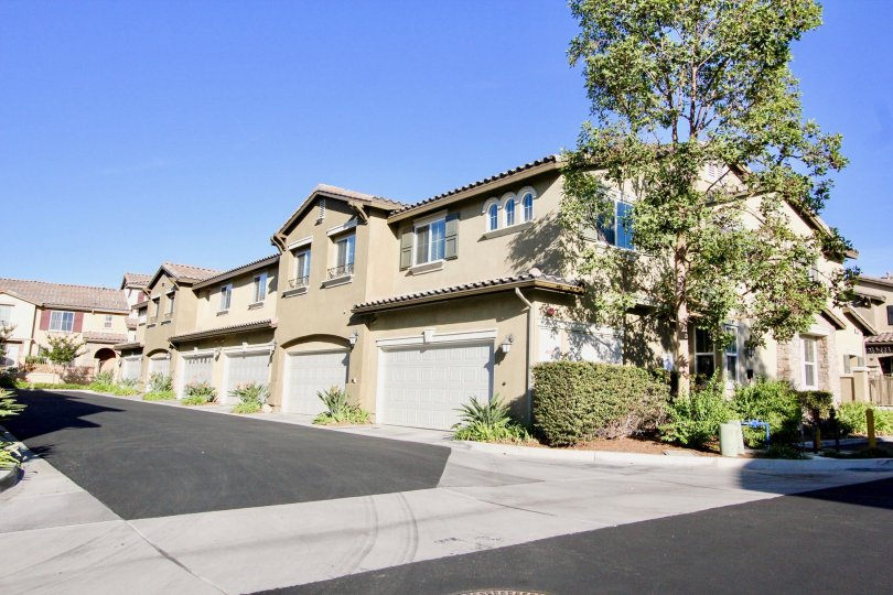 Two story residential units with driveways inside Amante Ravenna in Rancho Bernardo CA