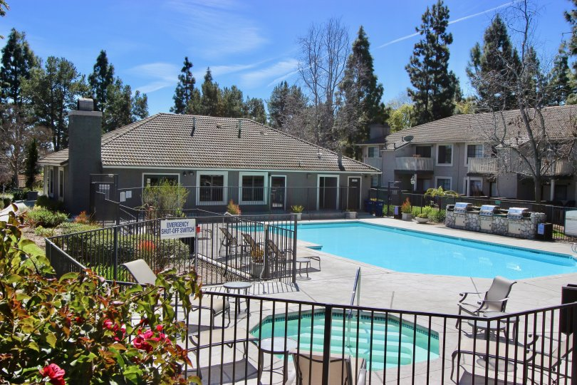 Outdoor pool and sundeck at the Carmel Trails community.