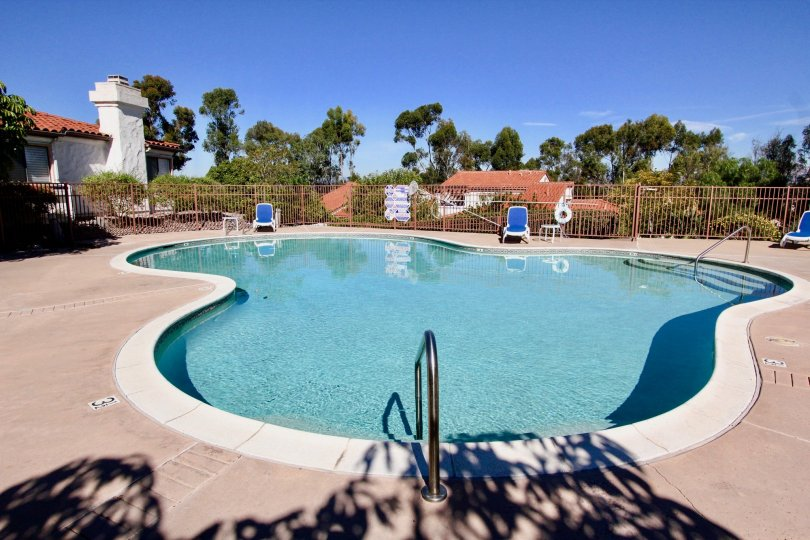 Odd shaped swimming pool with brown security fence at Fairway Vistas in Rancho Bernardo CA