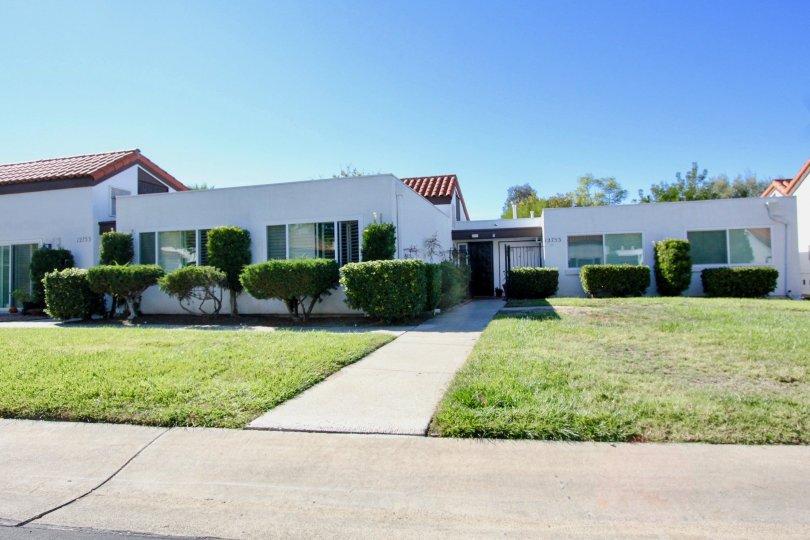 Residential street on a sunny day at Haciendas, Rancho Bernardo in California.
