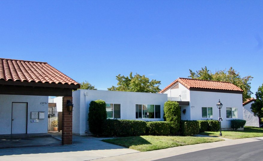 picture from the road showing houses at Haciendas, Rancho Bernardo at California
