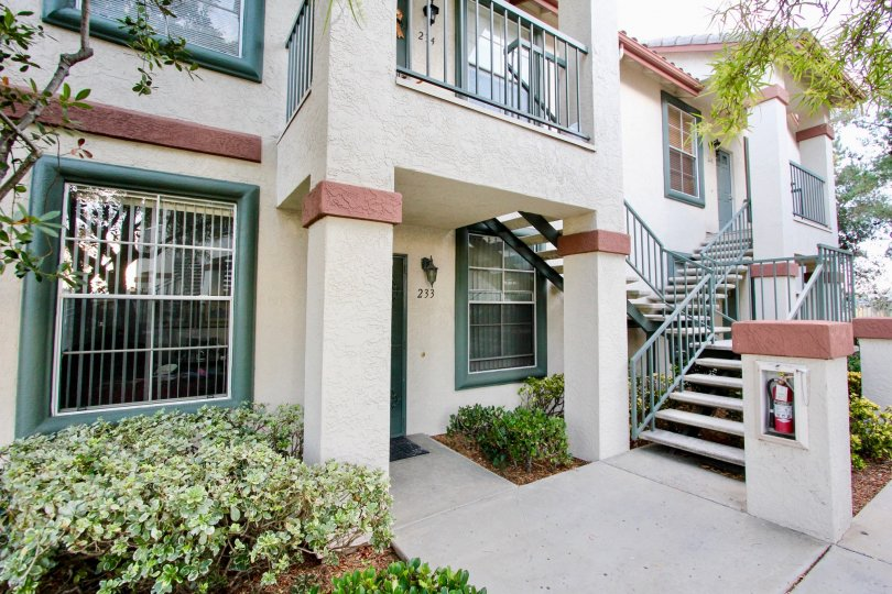 Hilltop's two story condominiums with attached stairways in Rancho Bernardo California