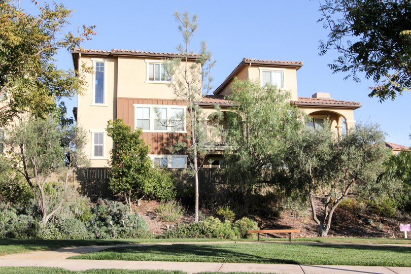 Beautiful home on a hill surrounded by trees in Rancho Bernardo, California.