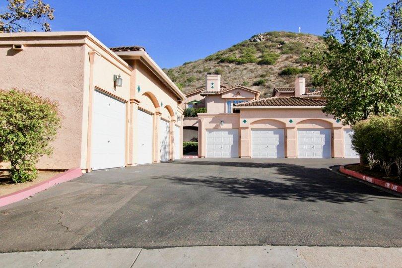 white garage doors on pink garages in morado in rancho bernardo ca