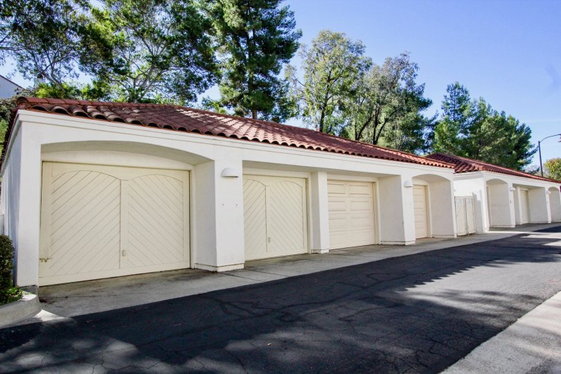 A long set of red and white garages in rancho bernardo, california