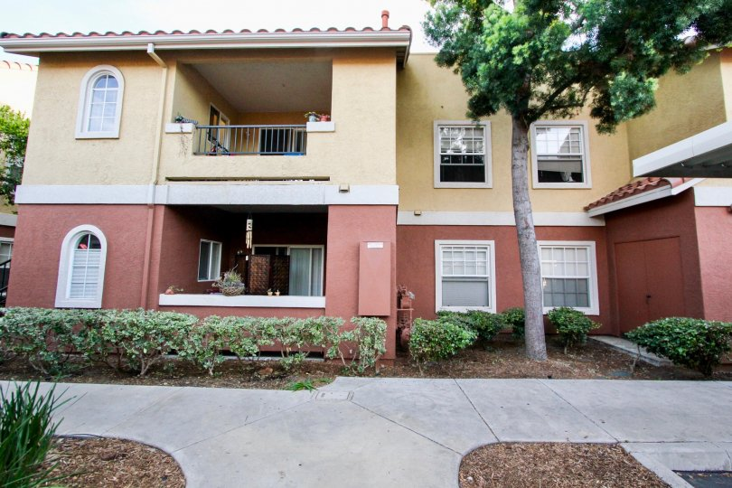 Two story brown and red units inside Sabre Terrace in Rancho Bernardo CA