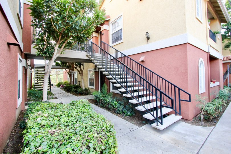 Black iron stairway near residence at Sabre Terrace in Rancho Bernardo CA