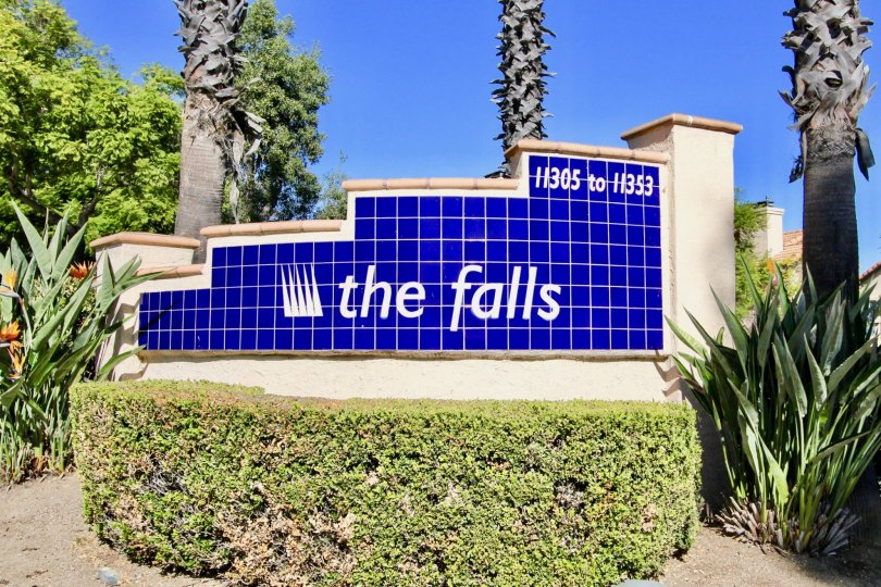 Blue tile wall with whit writing inside The Falls in Rancho Bernardo CA