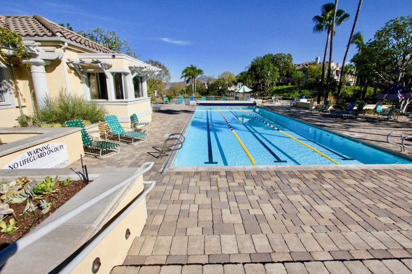 In Villa of Vista Del Lago, Has swimming pool to training with warning board