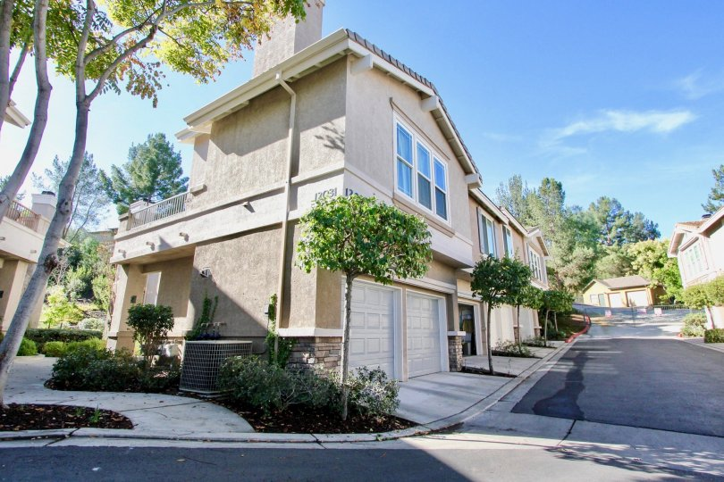 Two story condo units near driveway at Windham in Rancho Bernardo California